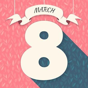꽃 패턴으로 3 월 8 일 카드