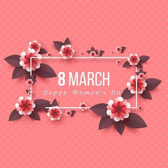 Открытка на 8 марта к международному женскому дню. срезанные цветы из бумаги, праздничный фон.