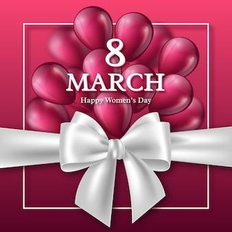 Открытка на 8 марта к международному женскому дню. реалистичный лук с воздушными шарами.
