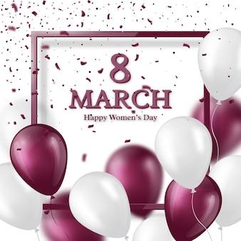 Открытка на 8 марта к международному женскому дню. реалистичная стеклянная рамка с воздушными шарами и конфетти.