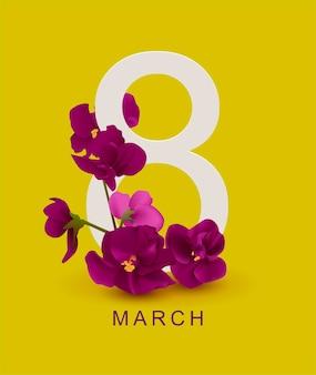 3月8日グリーティングカードテンプレート。黄色のスミレの花。