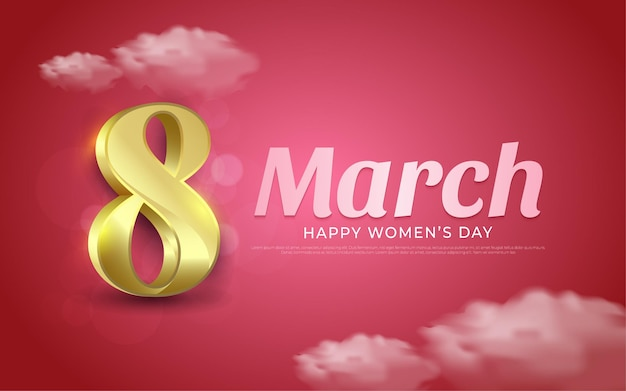 March 8, happy women's day background in realistic style illustrations