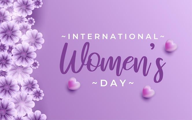 8 марта, счастливый женский день фон с цветком в реалистичном стиле иллюстраций