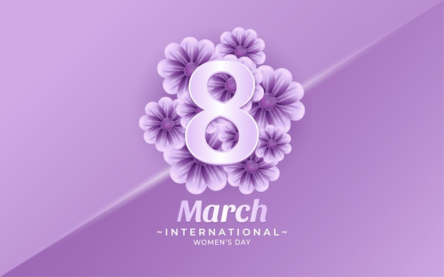 March 8, happy women's day background with flower in realistic style illustrations