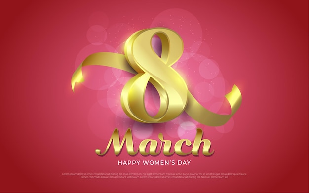 March 8, happy women's day gold in realistic style