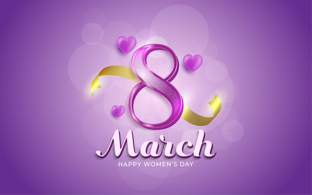 8 марта, счастливый женский день в реалистичном стиле