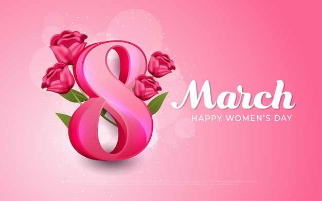 March 8, happy women's day pink in realistic style