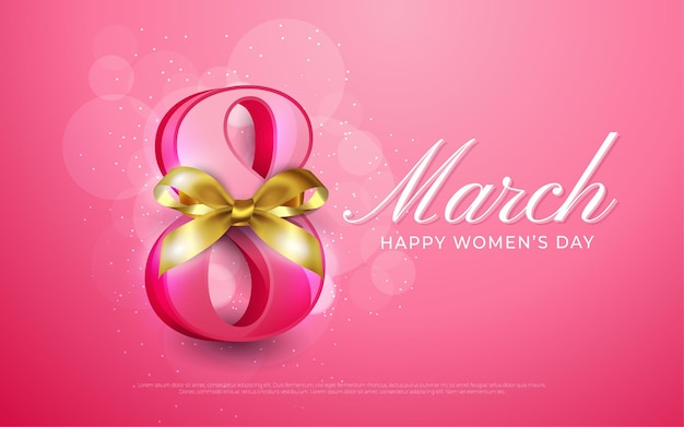 March 8, happy women's day in realistic style