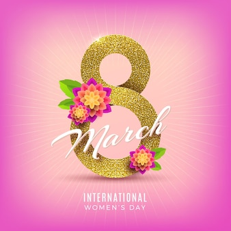 March 8 - international women's day greeting card. glitter gold number eight and flowers.
