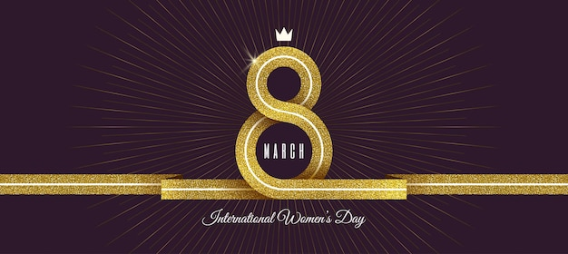 March 8 - international women's day greeting card. gold ribbon in the shape of sign eight.