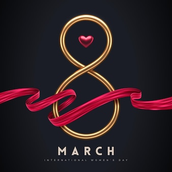 March 8 - international women's day greeting card. golden number eight, red heart and painting ribbon