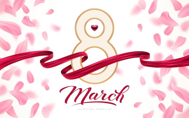 March 8 - international women's day greeting card - golden number eight, red heart and painting ribbon