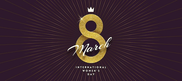 March 8 - international women's day greeting card. golden ribbon in the shape of sign eight.