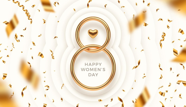 March 8 - international women's day greeting card. realistic gold metal number eight, heart and golden confetti