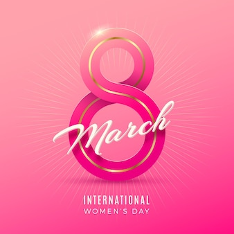 March 8 - international women's day greeting card with ribbon in the shape of sign eight.