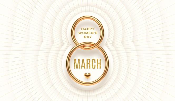 8 марта - поздравление с международным женским днем. реалистичная золотая цифра восемь и блестящее золотое приветствие