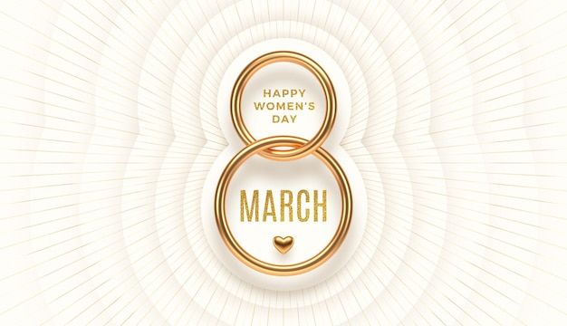 March 8 - international women's day greeting. realistic gold number eight and glitter gold greeting