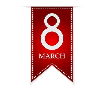 March 8, international women's day. greeting red ribbon for march 8