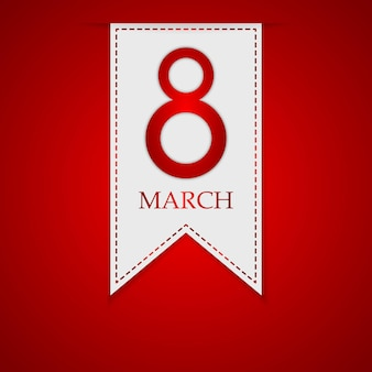March 8, international women's day. greeting ribbon for march 8