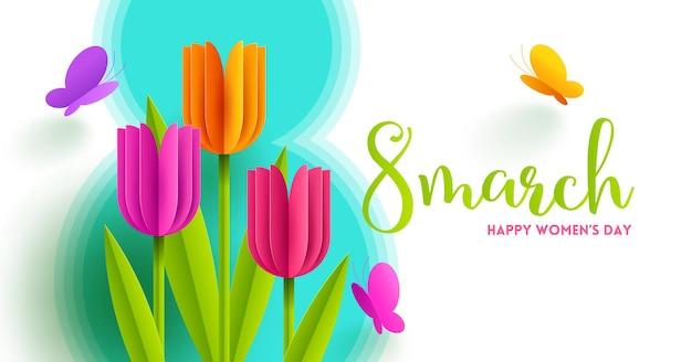 8 марта - международный женский день иллюстрации. открытка с бумажными тюльпанами, цветами и бабочками.
