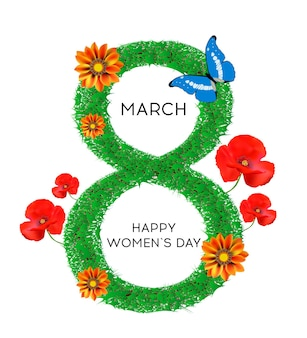 3月8日母の日女性の休日の草で飾られたポピー菊蝶