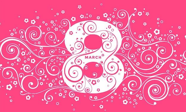 3月8日、女性の日。色の背景にベクトルグリーティングカード