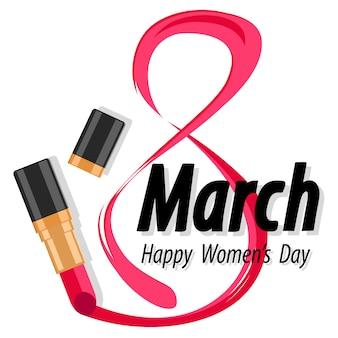 3 월 8 일, 흰색 립스틱으로 작성되었습니다. 여성의 날.