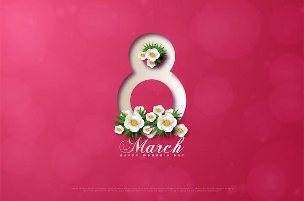 はっきりと縞模様の数字と白い花が付いた3月8日のカード。