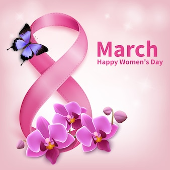 March 8th, happy women day greeting card