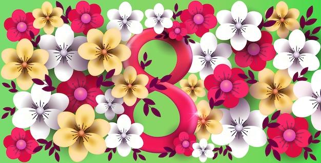 꽃과 함께 3 월 8 일 여성의 날 배경