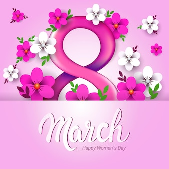 March 8th women's day background with flowers
