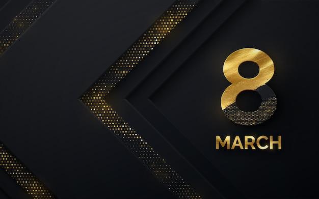 3月8日女性の日のデザイン、黒い紙の形とキラキラ