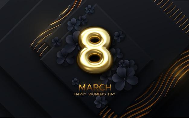 8 марта женский день дизайн с бумажными цветами