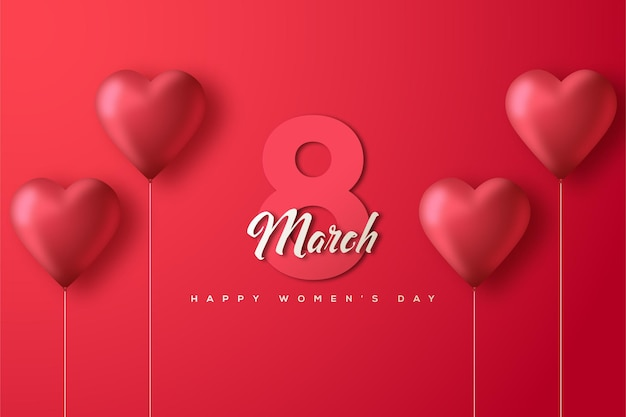 March 8th women's day with numbers on a white background and a red love balloon