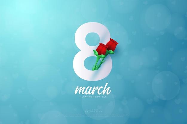 빨간 장미와 함께 3 월 bokeh 스타일.