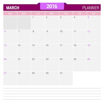 月のカレンダー2016