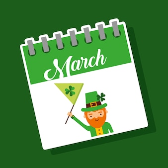 3月のカレンダーレプラチャンと旗st patricks party