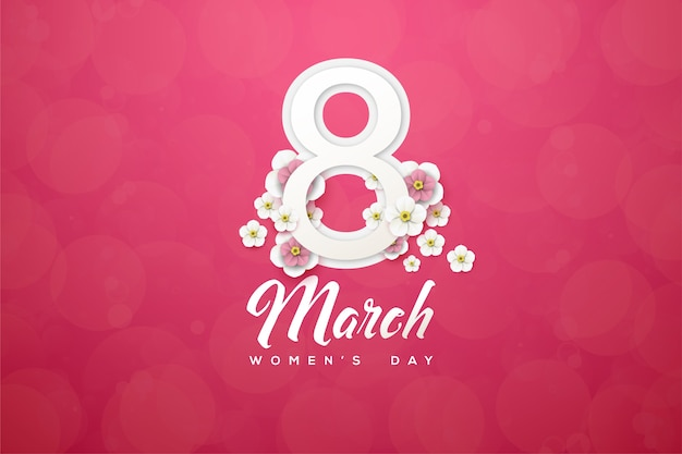 Восьмое марта фон с числами и цветами на розовом фоне