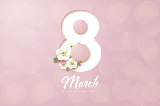 Восьмое марта фон с белыми и цветочными фигурами