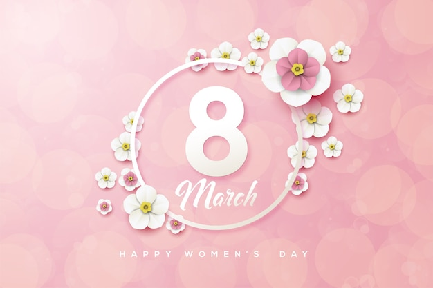 Восьмое марта фон с белыми цифрами и трехмерными цветами