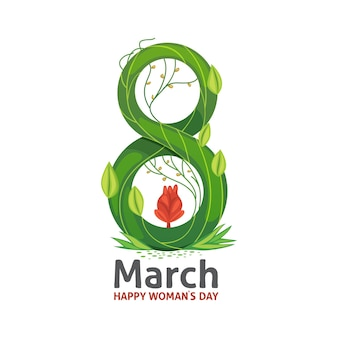 March floral greeting elegant card design. happy women's day.