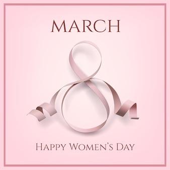 Шаблон поздравительной открытки марта с розовым бантом. международный женский день