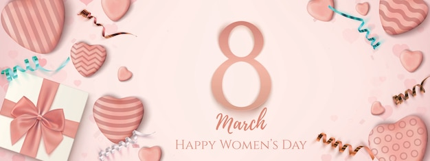 March happy women's day horizontal banner.