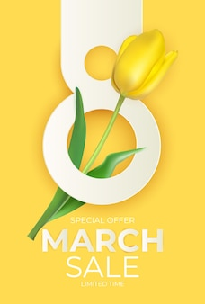 March sale banner with tulip background