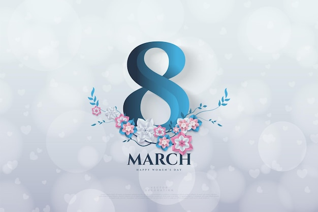 March with flowers on bokeh background.