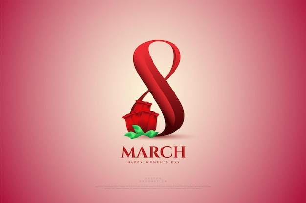 March with red numbers and  red roses.