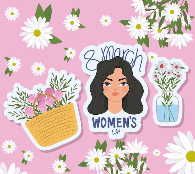 March women day lettering, cute woman with black hair and basket full with roses  illustration