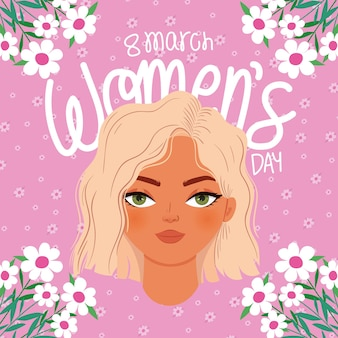 March women day lettering and woman with a blond hair  illustration