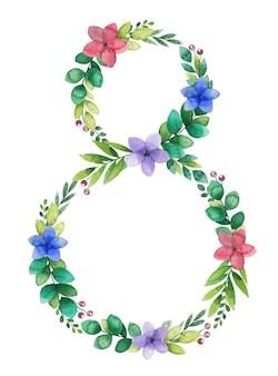 Мартовский женский день акварель цветочная рамка, венок в форме восьмерки