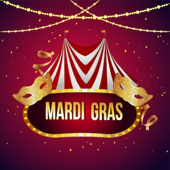 Mardi gras background with circus tent and golden mask
